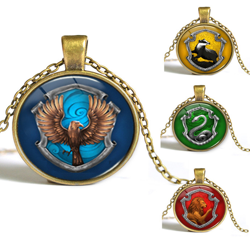 8 styles Hogwarts Slytherin Crest Pendant Necklace Jewelry Glass Cabochon Gift  Y002