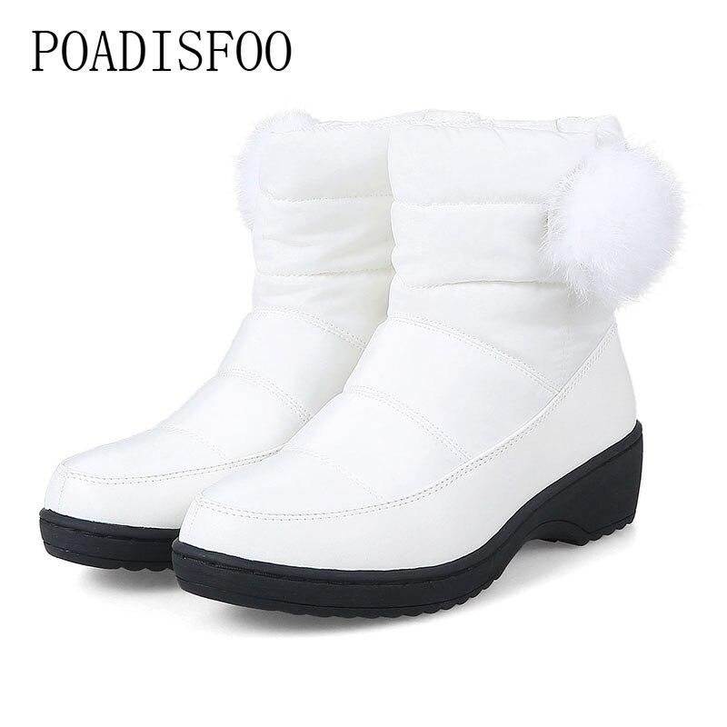 2018 Frauen Stiefel Winter Neue Pu Warme Unten Schnee Stiefel Mode Lässig Flache Stiefel Kaninchen Fell Ball Baumwolle Unten Ankle Stiefel Hx-87a