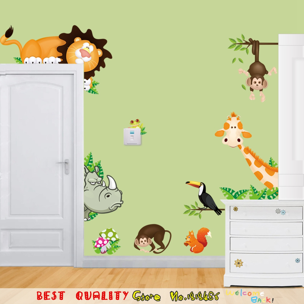 Cute Jungle Wild Animals WallPaper Home Decoration Wall Stickers ...