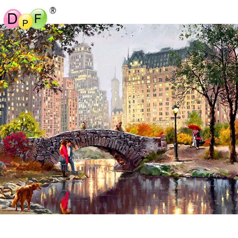 5D DIY Diamond Painting River Crystal Diamond Painting Cross Stitch Needlework Home Decorative scenery painting