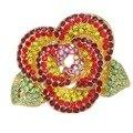 Bela Flor de cristal Broches mulheres jóias decoração banhado a ouro broches de Strass broches
