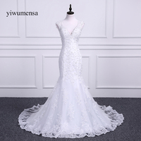 Vestidos 드 노비 화려한 파란색 인어 긴 웨딩 드레스 2018 레이스 아플리케 섹시한 V 넥 웨딩 드레스