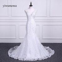 yiwumensa vestidos de novia New Arrival Gorgeous Beaded Mermaid Wedding Dresses 2018 Lace Appliques Sexy V neck wedding dress