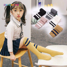 SLKMSWMDJ autumn and winter new striped stockings childrens boys girls cotton suitable for 3-12 years 1 pair