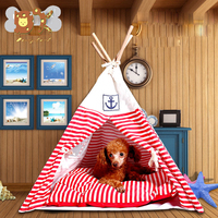 DannyKarl Strip and Clean Striped Pet Tent Dog Kennel Wooden Dog Kennels Small Cat Pet Bed Summer Play Hand Wash House 2019 N
