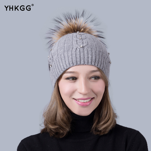 2016 last brand new With drill Real Raccoon Winter  Warm  Hat Knitted Cashmere  beanies  Pom Pom Hat