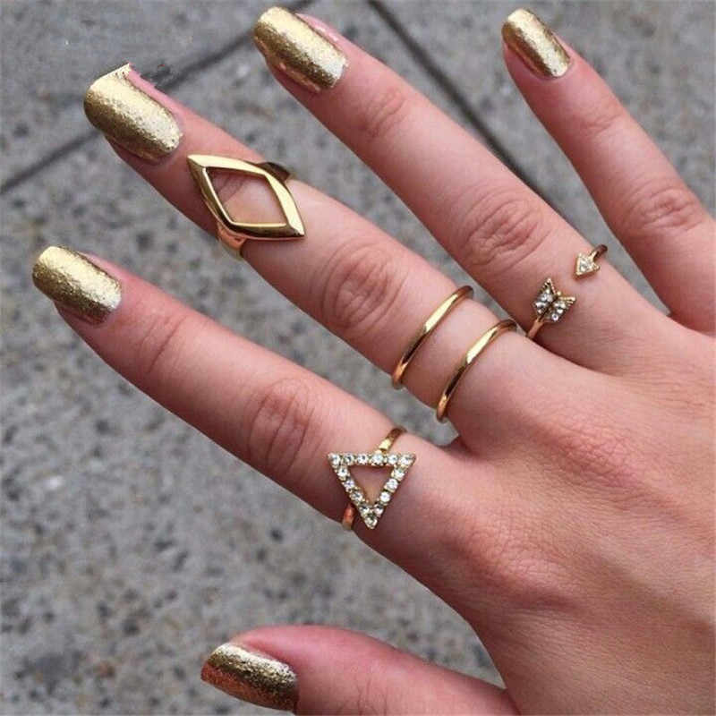 Retro stone series of crystal multi pieces sets of rings hollowed moon waves cute loveheart irregular rings for female