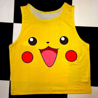 F573 Summer Women Camis Pikachu Print   tank     tops   Yellow sleeveless Tee Pokemon Vest Women Clothing O Neck