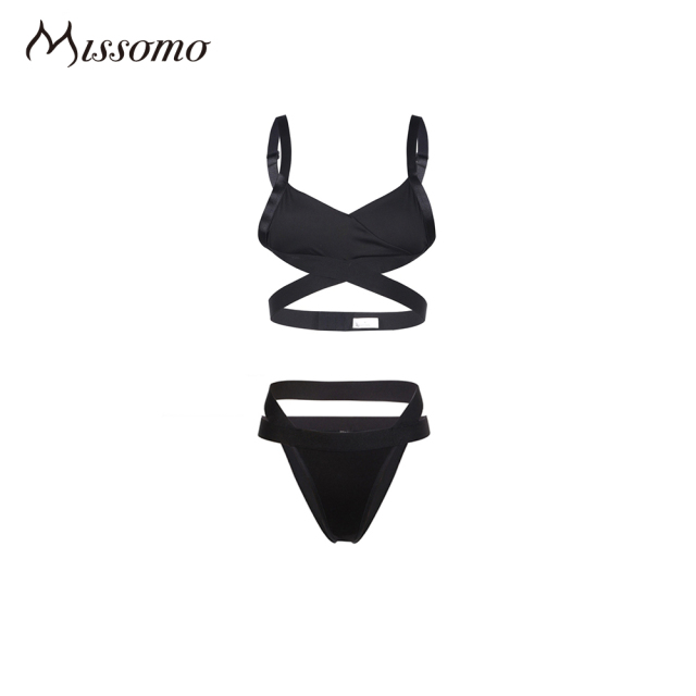 Missomo 2017 New Fashion Women Black Sexy Push Up Lace  Cross Front Wireless Bralette Underwear Soft Panties Breathable Bra Set