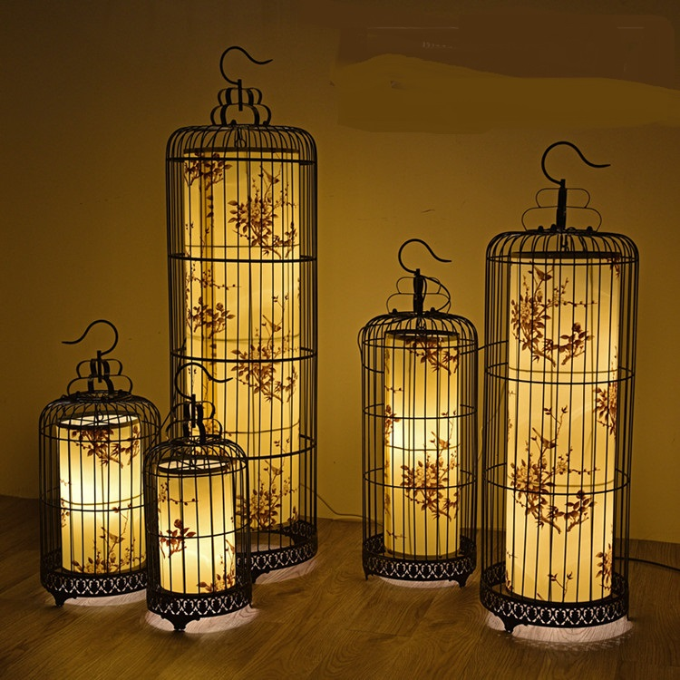 Chinese iron cage lamp hanging lamps and creative personality bedroom restaurant American retro hotel pendant light ZH