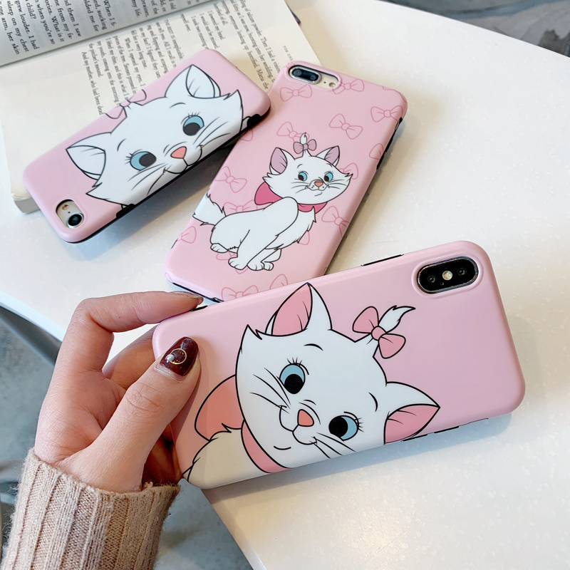 Marie Cat Cartoon Case For iPhone 6 6S 7 8 Plus Matte Frosted TPU Cartoon Case for iPhone XS MAX XR X S Back Cover