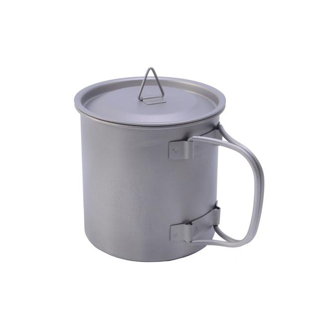400ml Titanium Pot Titanium Water Mug Cup with bowl cover and Foldable Handle Outdoor Camping Pot Cooking Pots Picnic Hang Pot