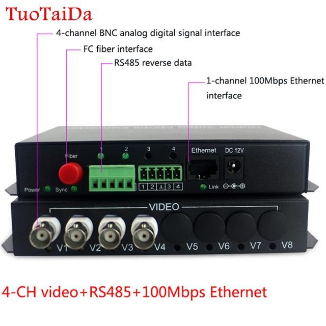 4 ch וידאו עם RS485/RJ45 Ethernet משדר ומקלט 4 ערוץ סיב אופטי media converter FC 20 KM