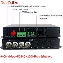 4 chビデオでrs485/rj45イーサネットトランスミッター&レシーバー4チャンネル光ファイバーメディアコンバータfc 20キロメートル