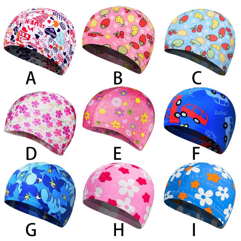 Children Kids Unisex Polyester Elastic Swim Cap Cartoon Fruit Floral Colored Animal Anti-slip Ears Protector Sports Swimming Hat Unequal In Performance
