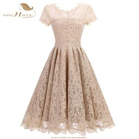 SISHION Beige Lace Dress Work Casual Fashion O Neck Sexy Hollow Out Women A Line Vintage