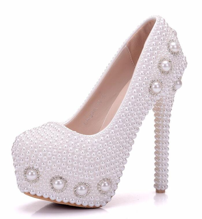 2019 new Fmale wedding pumps shoes handmade beading straps lace flowers bridal shoes ladies white party pumps shoes round toes-in High Heels from Shoes    1