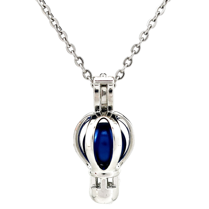 K964 Silver Alloy Cute Fire Balloon Hollow Beads Pearl Cage Pendant Chain Aroma Essential Oil Diffuser Locket Necklace