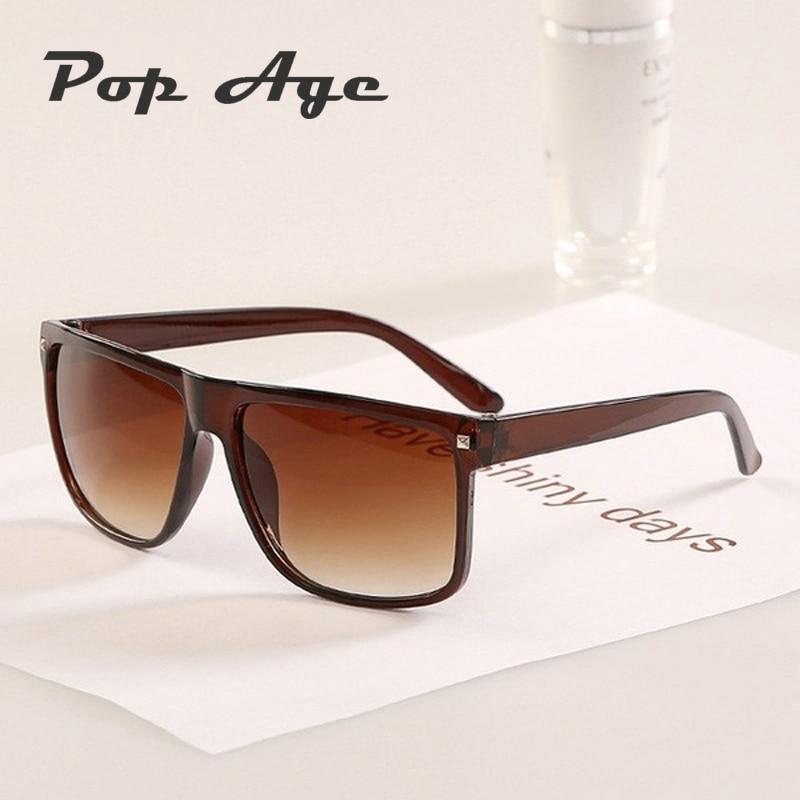 Pop Age Moda Remache Gafas de sol cuadradas Hombres Mujeres Diseñador de marca Marrón Negro Gafas de sol de plástico Gafas vintage Sol
