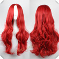 80cm Long  Red Curly Synthetic Cosplay Costume Party Hair Anime Wigs Full Hair Wavy Wig