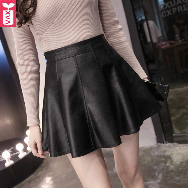 Wholesale Office Lady Fashion Brand Banquet Black Leather Skirts High Waist Formal Party A-Line Miniskirt Summer 2019