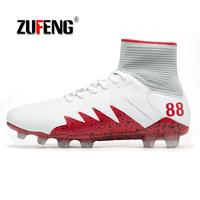 Hot Sale Mens Big Size Soccer Cleats High Ankle Football Shoes Long Spikes Outdoor Soccer Traing Boots for Kid Men High Ankle
