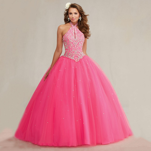 Sparkly Beaded Halter Top Orange Quinceanera Dressses 2015 Tulle Ball Gowns  For Sweet 15 16 Dresses ea205d062f76