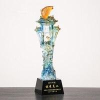 30 см цветной глазурью высокого класса хрустальный Кубок творческий Карп прыгать лунмэнь компании эксклюзивные трофей в вечерние award трофеи