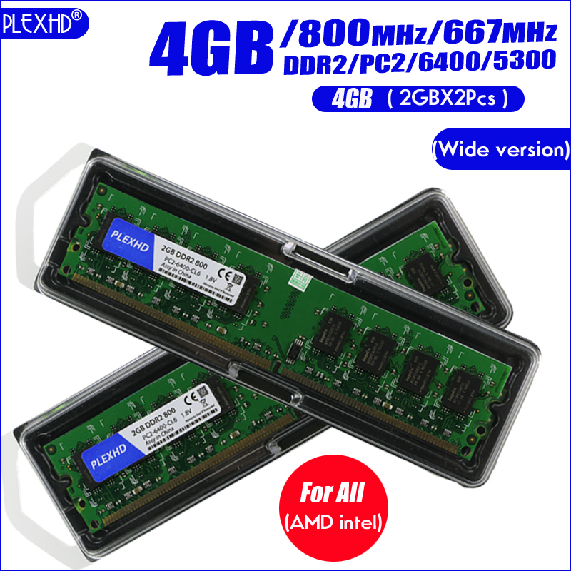 PLEXHD Desktop PC Memory RAM Memoria Module DDR2 800 PC2 6400 4GB(2PCS*2GB) Compatible DDR2 800MHz / 667MHz  (Wide version) 1