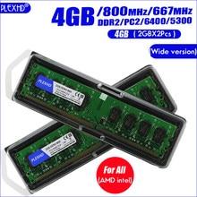 PLEXHD PC de escritorio Memoria RAM Memoria para DDR2 800 PC2 6400 4GB(2GB * 2 uds) Compatible DDR2 800MHz / 667MHz (Versión amplia)