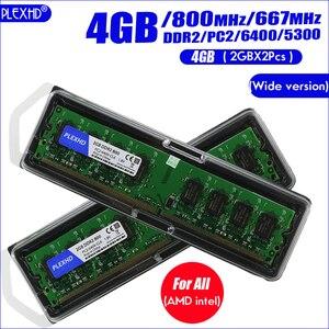 Plexhd Pc Desktop Memoria Ram Modulo di Memoria DDR2 800 PC2 6400 4 Gb (2 Pcs * 2 Gb) compatibile DDR2 800 Mhz/667 Mhz (Versione Larga)(China)