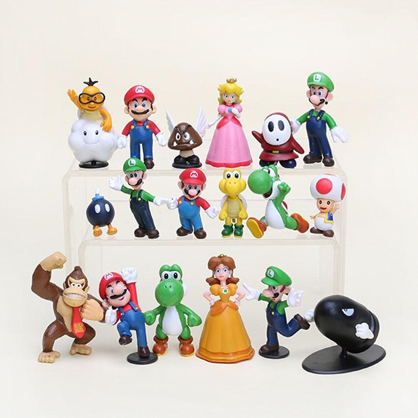 "5 zestawów/partia Super Mario Bros 1 2.5 ""rysunek zabawka lalka zabawa kolekcjonerska pcv figurki Super mario rysunek zabawki yoshi luigi 18 sztuk/zestaw w Figurki i postaci od Zabawki i hobby na  Grupa 1"
