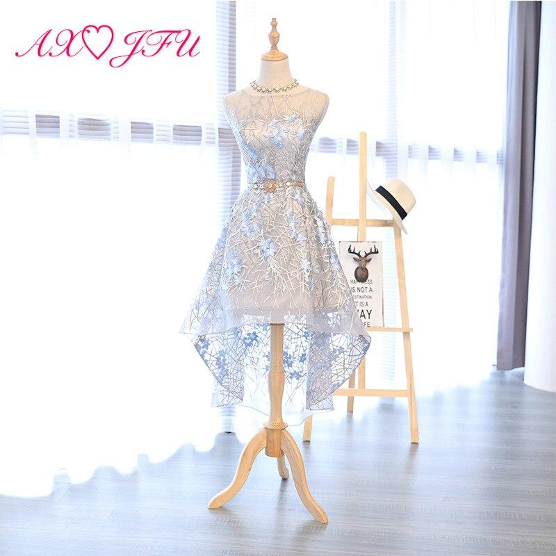 AXJFU Blue Lace Evening Dress Female Korean Princess Banquet Short Adult Ceremony Evening Dress Party Flower Evening Dress