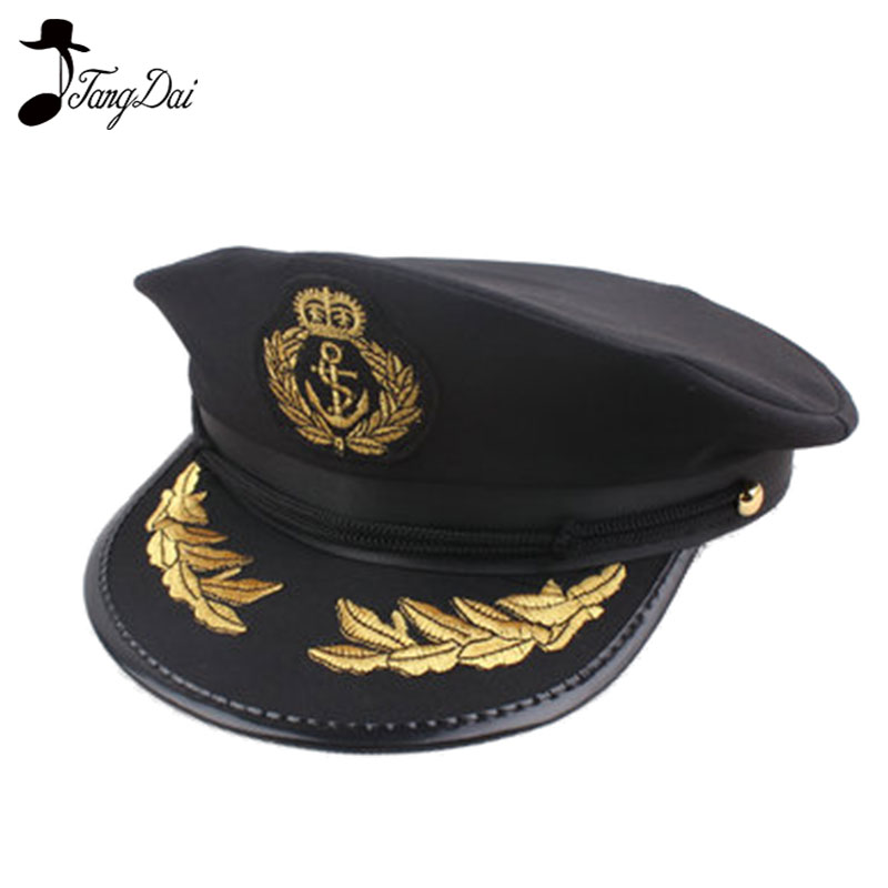 Party Costume Caps Police Hat Performance Uniform Black Octagonal Cap Police Navy Hat Caption Cap Captain Cap