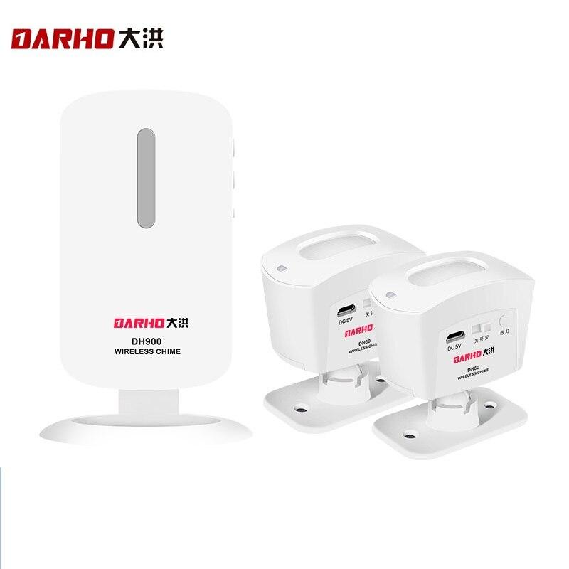 Darho Shop Shop Drahtlose Einbrecher Home Security Türklingel Hallo Willkommen Chime PIR Motion Infrarot Detektor Alarmanlage Set