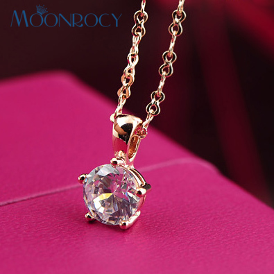 MOONROCY Free Shipping Fashion Rose Gold Color Crystal Necklace Jewelry Necklace Choker Wedding for women gift