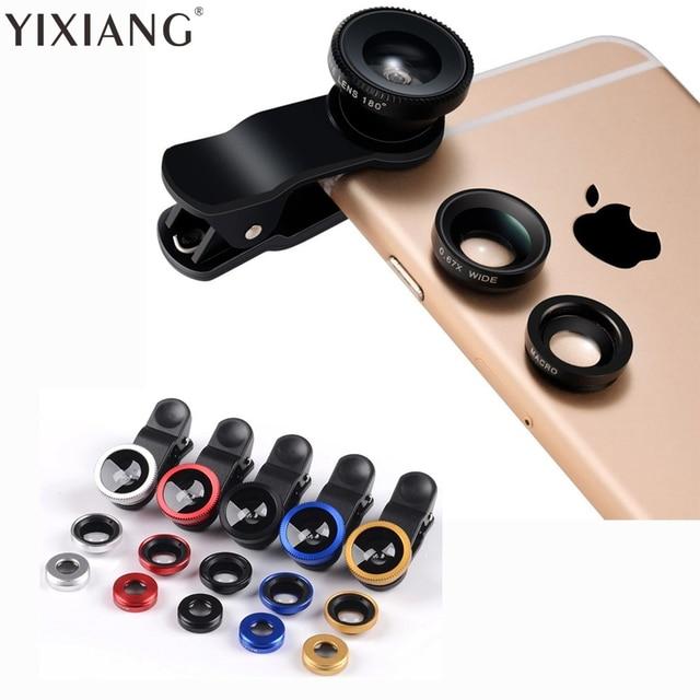 9b9173a284f YIXIANG 3 in 1 Fish Eye Wide Angle Macro Fisheye Lens Lente Olho de Peixe Para  For iPhone 4 5 6 Samsung xiaomi huawei htc lg