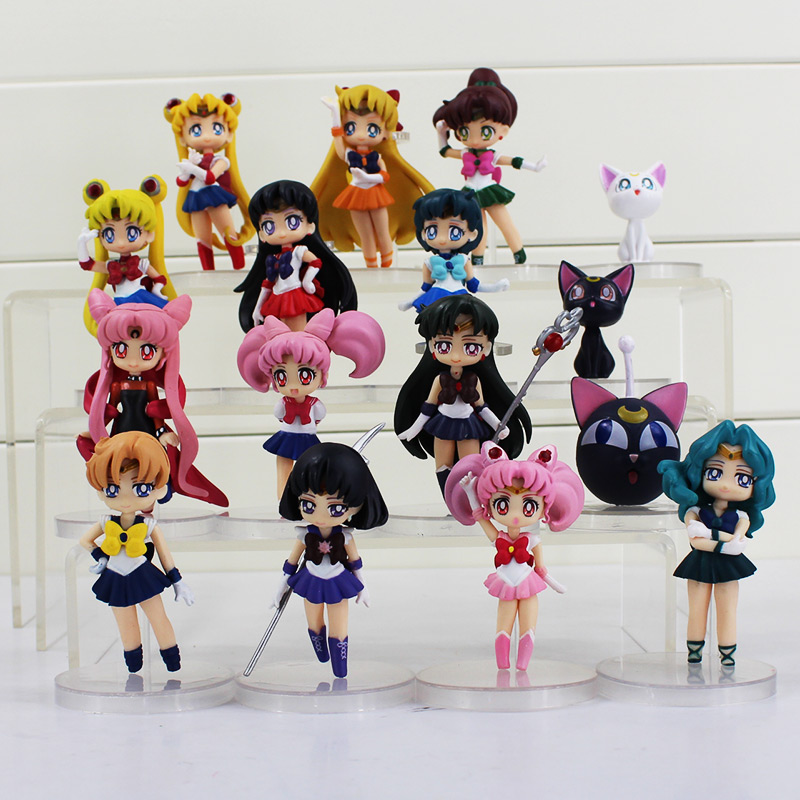 4pcs/lot 16 Styles Sailor Moon Figures Tsukino Usagi Sailor Mars Jupiter Saturn Mercury Venus Anime PVC Model Dolls ...