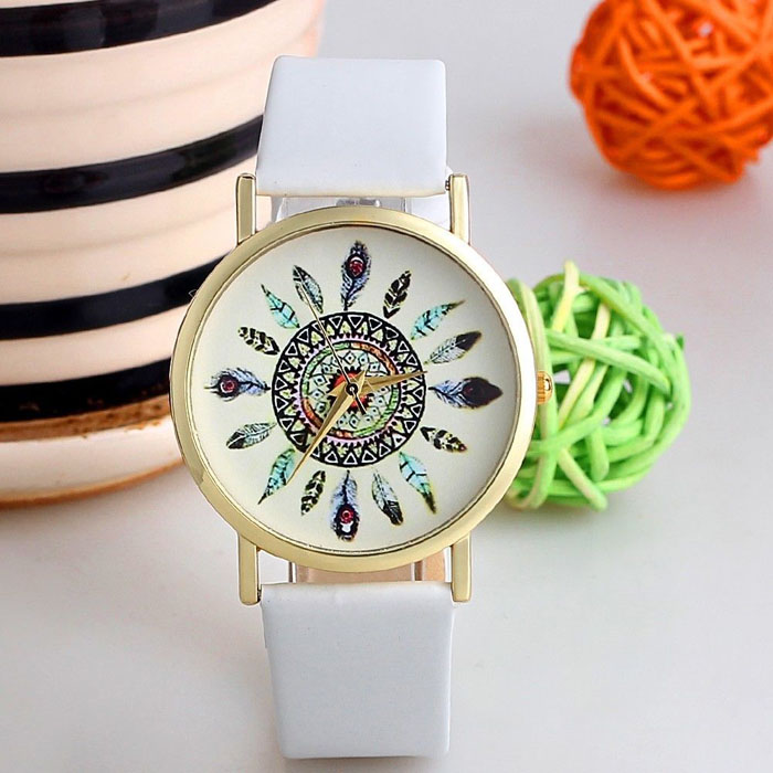 Women Relogio Feminino Vintage Feather Dial PU Leather Band Quartz Analog Watch Unique WristWatch Watches Relojes Mujer Fabulous fabulous 2016 quicksand pattern leather band analog quartz vogue wrist watches 11 23