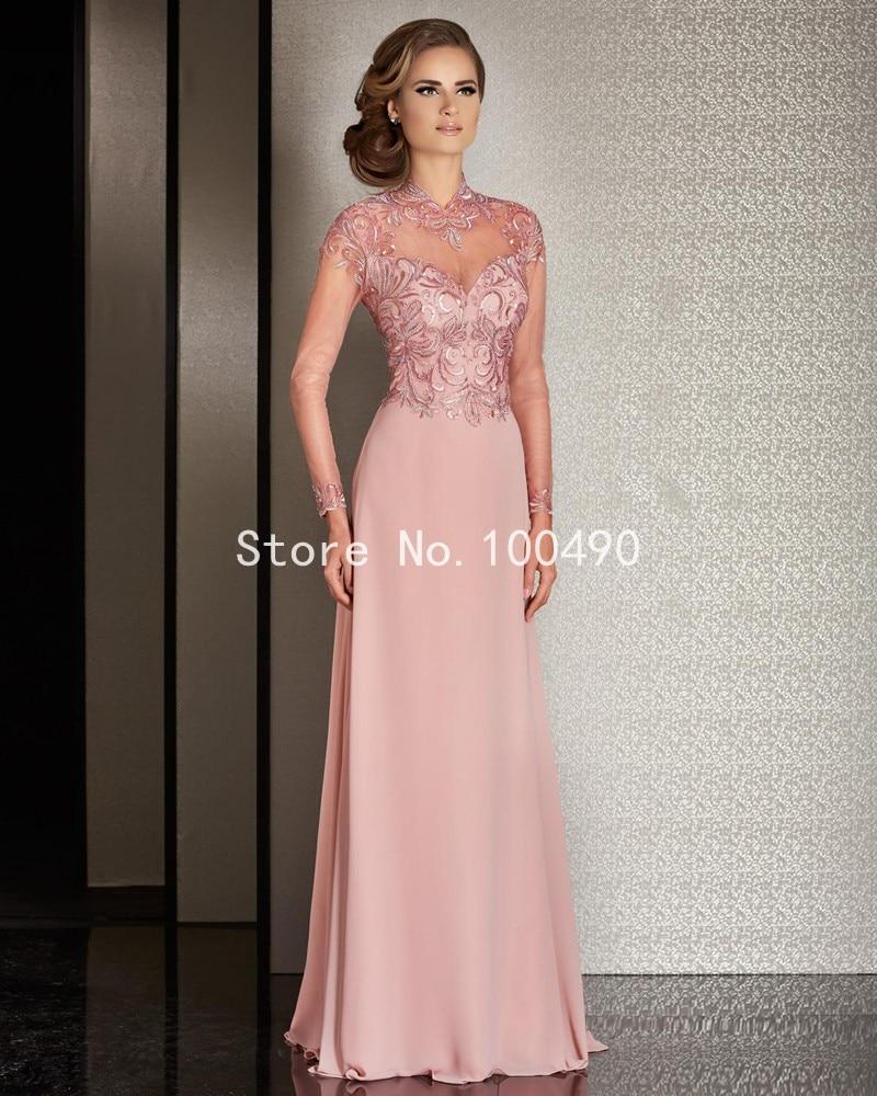 Nuevo diseño Sexy apliques gasa vestido de noche 2016 Beaded Pink ...