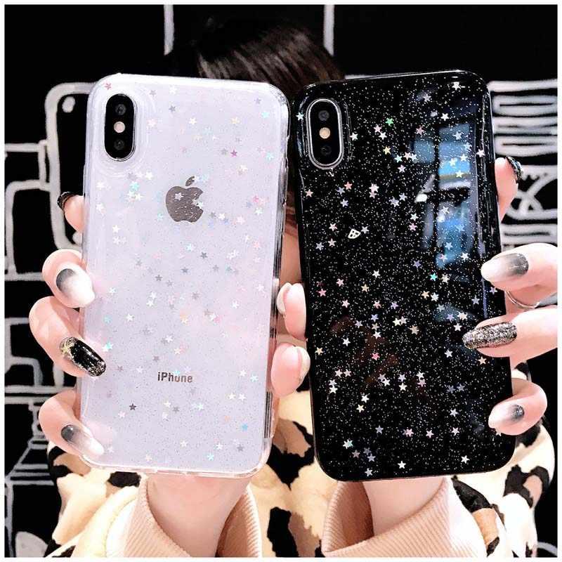 Блестящий Мягкий чехол со звездами для iphone XS Max XR X 8 7 6 6S Plus 5 5S SE чехол для iphone 6 s 5 s 7plus 8plus прозрачный чехол