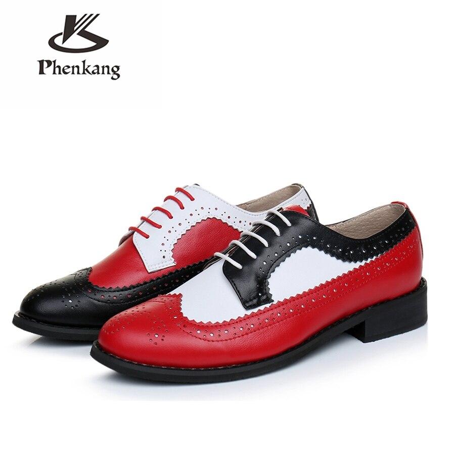 本物の牛革ブローグ男性カジュアルフラットシューズハンドメイドヴィンテージカジュアルスニーカーためのオックスフォードシューズ靴赤、黒、白  グループ上の 靴 からの オックスフォード の中 1