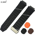 26mm NEW Men Black Brown Orange Watchbands Mens Diving Silicone Rubber WatchBAND Watch Strap Metal Buckle