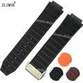 26mm nuevos hombres negro brown orange correas de reloj para hombre de buceo caucho de silicona correa de reloj de correa de hebilla de metal