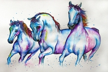 Painting watercolour Horse art wall Poster canvas HD Quality print for Living Room Home Decor