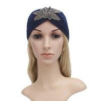 M71107 Women Winter Knitted Headband Crochet Rhombus Rhinestone Hair Accessories Ladies Elastic Hair Bands Muslim Head Band