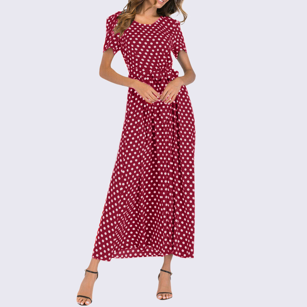 HTB1uHSUaBiE3KVjSZFMq6zQhVXaK - Summer Dress Women O-Neck Short Sleeve Boho Polka Dot Bandage Maxi Long Dress Women Beach Sundress Plus Size Vestidos