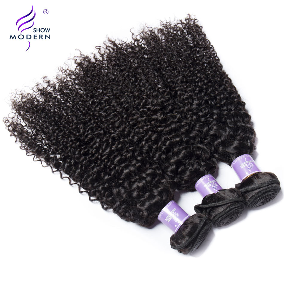 Modern Show Brazilian Kinky Curly Wave Bundles With Frontal Weave 100% Human Hair 3 Bundles With Closure Non Remy Hair Extention