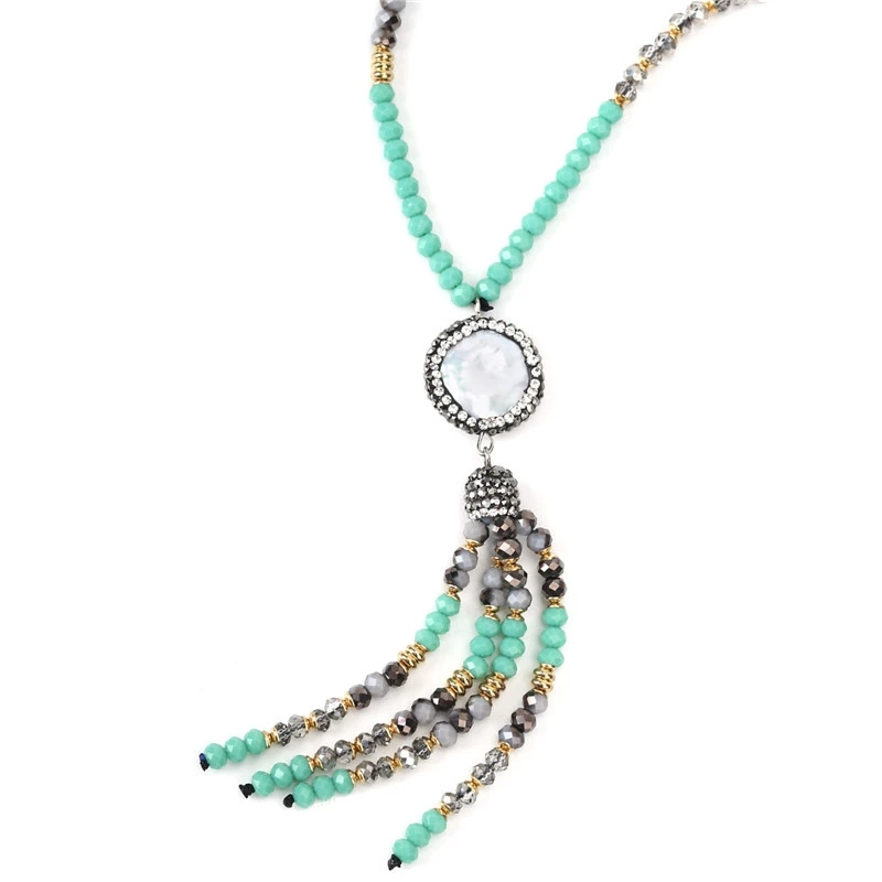 2019 Long Beaded Tassel Pearl Shell Pendant Necklace Ladies Necklaces mother of pearl shell geometric necklaces