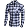 Para hombre Otoño Nuevas Llegadas Camisa Slim Fit Camisas A Cuadros de Manga Larga Con Bolsillo H7206 MasculinaTurn-camisas El Envío Libre